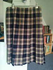 Beige navy red Fletcher Jones wool tartan pleated skirt kilt Ladies Size 10