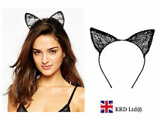 Black Lace Cat Ears Headband Halloween Fancy Dress Party Bunny Band Sexy Costume