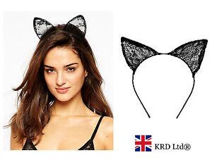 Black Lace Cat Ears Headband Halloween Fancy Dress Party Bunny Band Sexy Costume