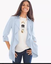 Chicos 1 SOFT RUFFLE JACKET Matin BLUE Sold Out $139