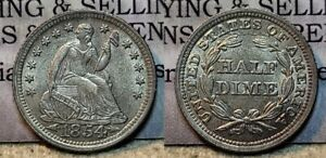 1854 P With Arrows Seated Liberty Half Dime 5c AU+