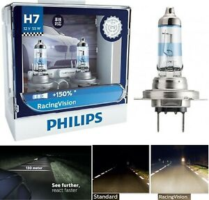 Philips Racing Vision 150% H7 55W Two Bulbs Head Light High Beam Replacement Fit