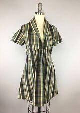 Geren Ford green & brown Plaid Summer Dress XS