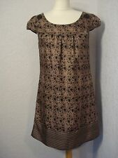Oasis bronze/taupe/brown & black printed silk shift dress 10