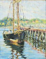 EDITH BRISCOE STEVENS Marine Harbor Scene Oil Painting Gloucester MA Circa 1923