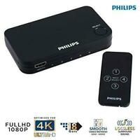 Philips Elite 4-Port HDMI Splitter Switch & Wireless Remote Control 4K