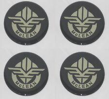 4 Black 250 635mm Dia Mclean Wire Wheel Rim Center Cap Round Sticker Logo