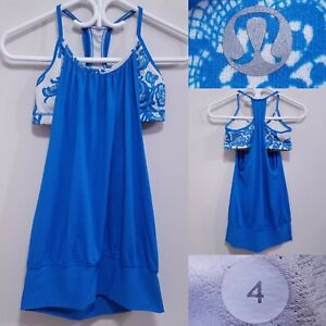 Lululemon NO LIMITS Blue White Flower Tank Top Size 4 XS Yoga Shirt Run Bra