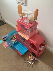 Barbie Pop Up Camper Van + Pool + Accessories