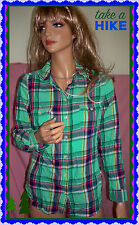 S Old Navy Womens Green Pink Plaid Button Down Shirt Blouse Top Casual Long Slv