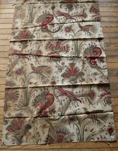 French Antique Hand Blocked Exotic Bird/Indienne Printed On Linen c1820-30