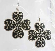 Baroque Large Silver-tone & Black  Maltese Cross Pierced Earrings 1970s vintage