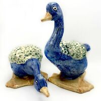 VTG Pair of Ceramic Geese Colorful Marked Crazing Large Blue Green