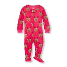 NWT The Childrens Place Reindeer Pink Stretchie Footed Sleeper Pajamas 2T 3T