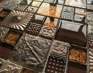 ANCIENT NATURE DESIGN TEXTURED STONE METAL GLASS COPPER BROWN MOSAIC WALL TILES