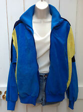 Vintage 80s Oversized Navy Blue Yellow Velour Track Top Cardigan Zip Up Retro L