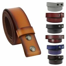 Mens Genuine Real Leather Stud Snap Clip on Belt Strap Fits Jeans Trouser Buckle