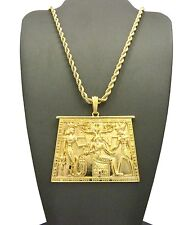 "NEW EGYPTIAN TABLET PENDANT &3mm/24"" ROPE CHAIN HIP HOP NECKLACE - XTP26RCG"
