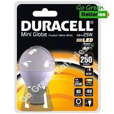 1x Duracell B22 Bayonet 4 Watt ( = 25 W) Globe LED Bulb. 250 Lumens Warm White