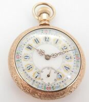 .C 1899 Elgin 55mm 18s Pocket Watch With Engraved Horse & Multi Coloured Dial