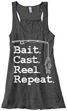Threadrock Women's Bait Cast Reel Repeat Flowy Racerback Tank Funny Fishing