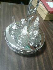 Vintage/Antique Cruet Set- 5 Shakers/Jars Plus Fancy Stand