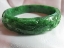 56.5mm NATURAL Green Jade Carved Rabbit RuYi Lucky Bat Bangle Bracelet 2-3.5/16""