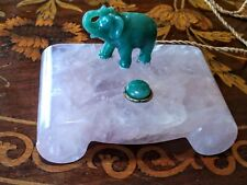 Offers Welcome! Pink Stone and Jade Servant Call Button With Elephant.