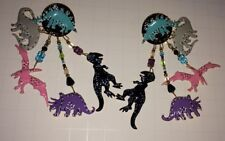 "Vintage LUNCH AT THE RITZ Colorful Dinosaurs '89 Signed POST Earrings  4"" PreOwn"