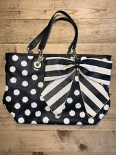 Betsey Johnson Large handbag/tote With Bow, Black & Cream Stripes And Dots