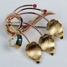 Retro Art Synthetic Ruby Floral Motif Pin Brooch 18 kt Yellow Gold #A1352