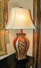 """""""Hand Painted Porcelain"""" Urn Style 27"""" Table Lamp w/Linen Shade"""