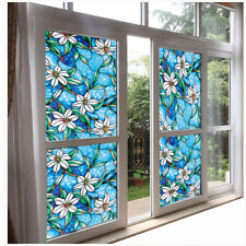 45cm*100cm DIY Blue Orchid Stained Privacy Protective Glass Sticker Window Film^