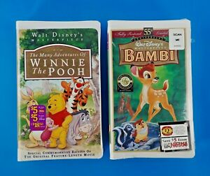Disney VHS Bambi & Winnie The Pooh New Sealed Bundle