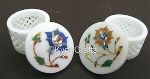Set of 2 Pieces Trinket Box with Floral Design Marble Earring Box 2.5 Inches