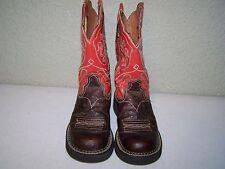 Ariat Cowboy Boots 6B Brown Burnt Orange Paisley Ostrich Print Western 16748