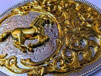✖ HQ WESTERN Horse Cowboy Rodeo Style Belt Buckle Heritage Gold silver plated US