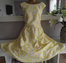 BN MONSOON IVORY YELLOW  JACQUARD FLORAL 50'S VINTAGE SUMMER WEDDING DRESS 22+