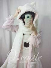 Girl's Cat Ears Scarves Warm Scarf with Hat Wrap White Pink Winter Lolita Cute