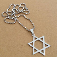 Titanium Steel Hexagram Pendant Star of David Necklace Silver Plated Chain 1Pcs