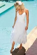 Simple Layered Chiffon White Beach Wedding Dresses Bridal Custom Gown 2 4 6 8+++