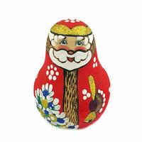 "Santa Claus Christmas Wooden Hand Painted Russian Roly Poly   3 1/2 "" tall"
