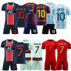 20/21 Kids Football Kits Soccer Training Team Suits Strip Uniforms +Socks New AU