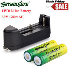 2x14500 3.7V 1200mah BRC Litio Recargable Li-ion PILAS + SMART Cargador