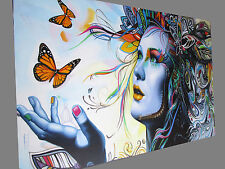 CANVAS Banksy Street Art Print URBAN BUTTERFLY PRINCESS PAINTING 70cm X 55