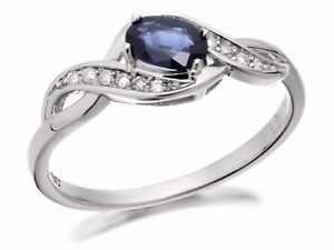 F. Hinds Womens Ladies Jewellery 9ct White Gold Sapphire And Diamond Twist Ring
