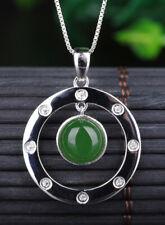 C10 Anhänger Kreise grüner Jaspis Sterling Silber 925