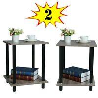 Set of 2 Wood End Side Bedside Table Nightstand Drawer Storage Shelf Bedroom