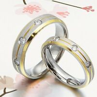 UK 18K Gold Groom&Bride Matching Wedding Engagement Bands Titanium Ring Set G-Z7