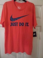 NIKE MEN'S SWOOSH JUST DO IT T-SHIRT RED w/BLUE GRAPHICS SIZE L New MSRP $25